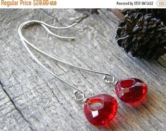 20% OFF Long Red Quartz Sterling Silver Earrings