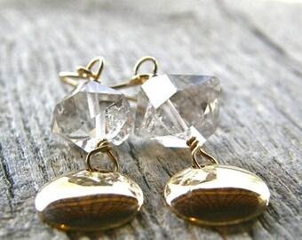 20% OFF Herkimer Diamond Gold Disc Earrings, Simple Quartz Earrings, Gifts for Her