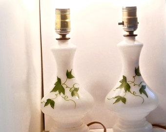 2 Hand Painted Ivy Table Lamps - Milk Glass Lamps - Boudoir Lamps