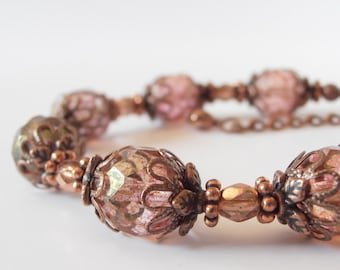 Rustic Blush Pink Beaded Bridesmaid Bracelets in Vintage Style Antiqued Copper, Country Wedding Beaded Jewelry