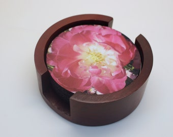Double Tulip Flower Coaster Set of 5 with Wood Holder