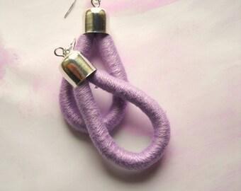 Drop Earrings - ThousandTwist Classic in cotton- Fiber earrings - LilacPastel - Pop, Casual, Chandelier earrings by FridaWer