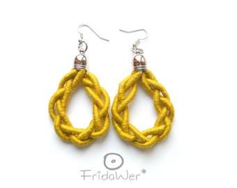 Yellow Drop braided Earrings-ThousandBraids in cotton-Statement Fiber Romantic earrings Pop Chandelier earrings,fiber rope earrings jewelry