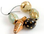 Soft golden crackles... Ceramic Artisan Beads