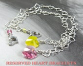 Sterling Silver Heart Chain Bracelet, Metal Chain and Link Jewelry, Personalized Heart Crystal Birthstone, Custom Design, Reserved Listing