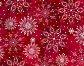 Red Snowflake Christmas Dreams Fabric - Quilting Treasures - 24555R