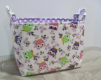 SALE LARGE Fabric Organizer Basket Storage Container Bin Bucket Bag Diaper Holder Home Decor- Size Large - Tossed Owls - RTS