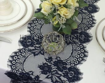 """Dark Navy Blue Lace Table Runner with Floral Scalloped Edge Wedding Table Runner 120""""x11"""""""