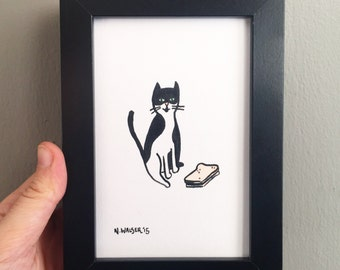Original Art, Cat and Sandwich , Gouache and Ink Drawing