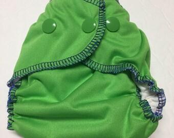 MamaBear Quick Dry Newborn/Preemie Diaper - AIO - Spring Green - Slight Second