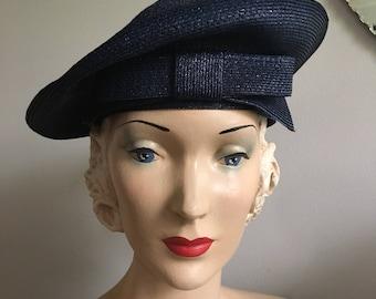 Vintage 1950s Navy Blue Woven Bow Beret Tilt Hat