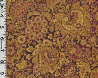Fabric Hoffman TALIA MidEastern Style Floral Paisley coordinate garnet Metallic gold
