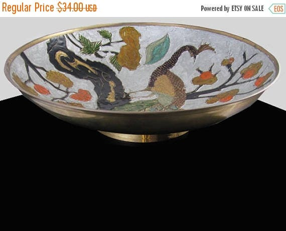 SPRING CLEANING SALE Vintage mid century cloisonne enamel peacock bird solid brass made in India large bowl / fruit / dish / shabby chic / v