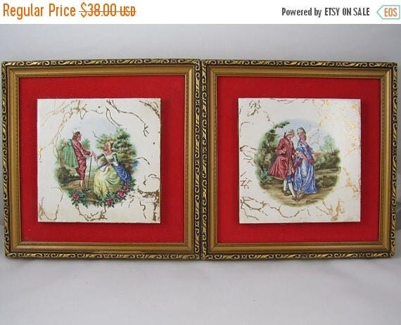 SPRING CLEANING SALE Pair of vintage mid century gold leaf picture frame tile and red velvet wall art / wall hanging / wall plaque / man and