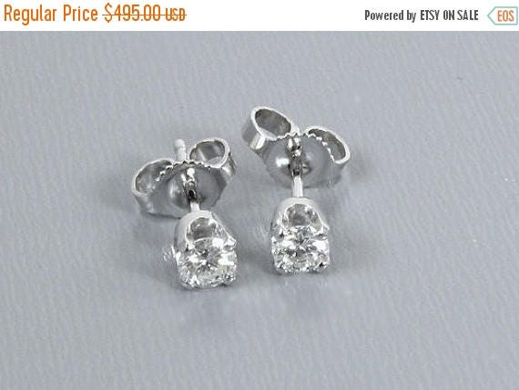 SPRING CLEANING SALE 14k white gold .33ct Vs2-Si1/J-K diamond solitaire pierced stud earrings