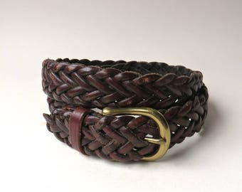 Distressed vintage Dark Brown Braided Leather Belt with Solid Brass Buckle