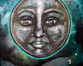 Blue Moon Miniature Painting by Lynnette Shelley