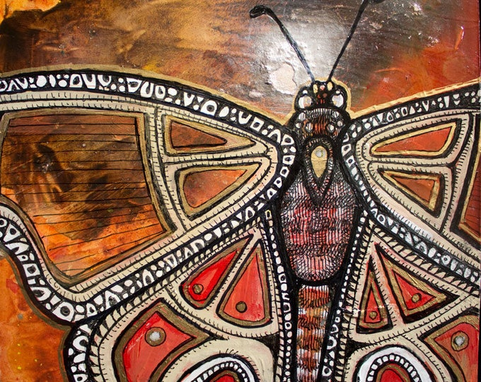 Original Fire Moth Painting / Insect Art by Lynnette Shelley