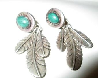 EARRINGS - TRIPLE  Feather - MALACHITE -  Estate Sale  - 925 - Post - Pierced - Dangle - Sterling Silver earrings 469