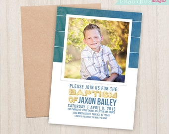 LDS Baptism Invitation, Boys Baptism Announcement, Stripes, Great to be 8, CTR, Lds Boy Baptism, Baptism Invite, Baptism Card, Blue