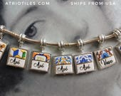 "Avó  Vavo Mother's Day Portugal Antique Azulejo Tile SILVER Plated Pendant for EUROPEAN ""PAN.."" Brand Bracelet   Choose One - Gift Box"