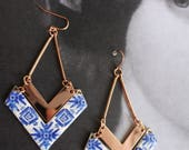 Chevron Earrings Portugal Antique Azulejo Tile Replicas from Porto Blue - Party Travel Jeans Woman Statement History