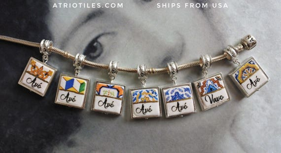 "Avó  Vavo Mother's Day Portugal Antique Azulejo Tile SILVER Plated Pendant for EUROPEAN ""PAN.."" Brand Bracelet   Choose One - Gift Box"