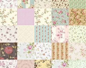 Dollhouse Miniature Small Scale Computer Printed Tan and Green Patchwork Quilt Roses Floral Fabric