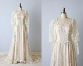 Vintage Lace Net Edwardian Style Wedding Dress / Tambour Lace / Full Sleeves / Cream