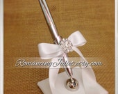 Romantic Satin Wedding Guestbook Pen with Rhinestone Accent...You Choose Colors.... shown in white/white