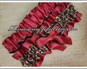The Classic Chic Leg Garter SET..You Choose the Accent Colors..shown in scarlett red/cheetah