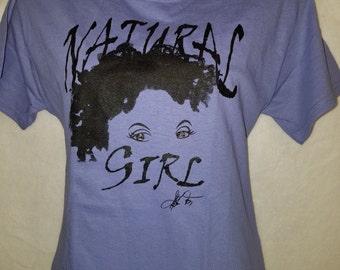 "Lavender  ""Natural Girl"" T-Shirt/  Natural Hair T-Shirt/ Purple and White T Shirt"