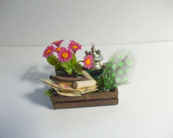 Gothic Witch aged spell Fairy garden crate dollhouse miniature OOAK Halloween