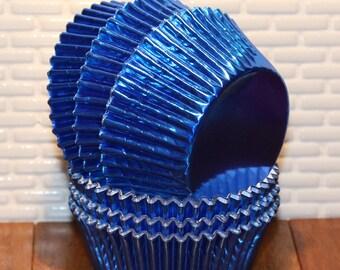 Blue Foil Cupcake Liners (Qty 50)  Royal Blue Foil Cupcake Liners, Dark Blue Foil Cupcake Liner, Foil Cupcake Liner, Blue Foil Cupcake Liner