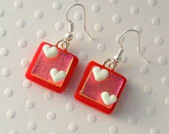 Heart Earrings, Dichroic Fused Glass Earrings, Valentine Earrings, Fused Glass, Dangle Earrings. Gift For Her, Spring Jewelry X3008
