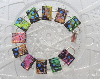 Hippie Jewelry - Bohemian Bracelet - Dichroic Fused Glass Bracelet - Hippie Bracelet - Boho Jewelry - Fused Glass - Charm Bracelet 8541