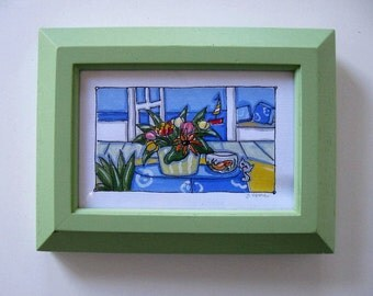 Original Acrylic beach painting on canvas, Pale Green framed art, Gray cat, sailboat, still life, Beach Cottage decor, small art, gift idea