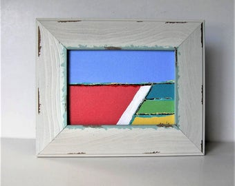 """Original framed abstract acrylic landscape art canvas, 7"""" x 5"""", Shabby distressed frame, Contemporary Wall Decor, Expressionist, gift idea"""