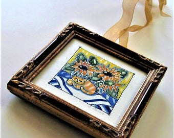 """Shabby framed Calico cat and sunflower painting, original acrylic still life canvas, 5"""" x 5"""", French flea market, blue and yellow, gift idea"""