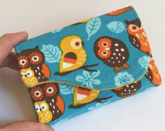 Owl and Leaves Business Card Holder in Pumpkin Orange Aqua Blue Brown Yellow Fabric Print - Bright Eyes