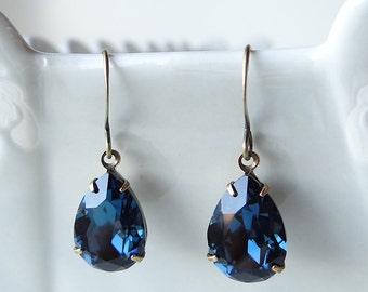 Swarovski Montana Blue Rhinestone Earrings Teardrop Pear Old Hollywood Bridal Bridesmaids