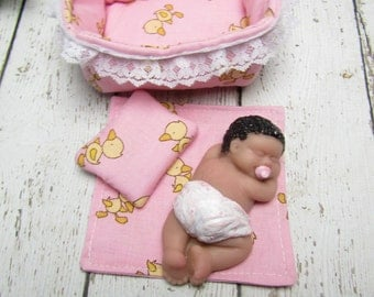2.5 inch Polymer Clay Doll, Handmade Bed, Pillow and Blanket