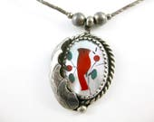 Vintage Sterling Silver Inlay Stone Red Cardinal Bird Mother of Pearl Necklace Pendant