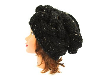 Cable Knit Hat - Slouchy Beanie - Obsidian Hat - Tweed Black Hat - Women's Beanie - Chunky Beanie - Wool Blend Headwear - Knit Accessories