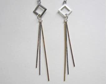 Geometric Sterling Silver Drop Earrings