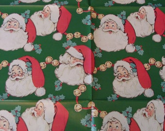 Christmas Gift Wrap 30x30 Santa Claus Red Green Vintage Christmas Wrapping Paper Collage Pack 50s Retro Santa Gift Wrap Sheets