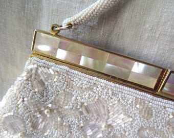 Vintage Beaded Purse/Evening Purse/White Beading with Mother of Pearl Trim Satin Lined