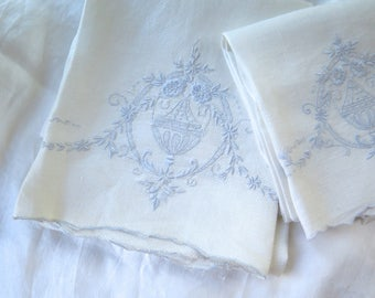 White Linen Hand Towels with Pale Blue Classical Embroidery in Set of Two/ Large Size
