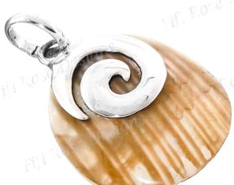 "1 3/8"" Gold Mother Of Pearl Turbo Shell 925 Sterling Silver Pendant"