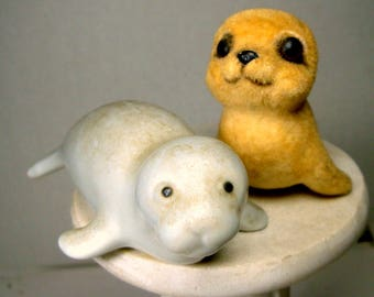 Lot of 3 Adorable Baby Seal Statues, 1970s Figurines, Porcelain, Resin and Fuzzy Zoo Animals, Circus Animals, Endangered